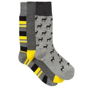 Cole Haan Deers & Stripes Crew Socks - Pack of 3